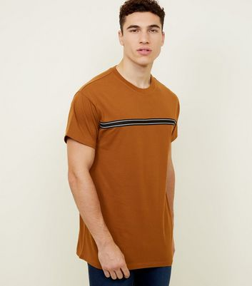 Brown Mesh Tape Stripe T-Shirt
