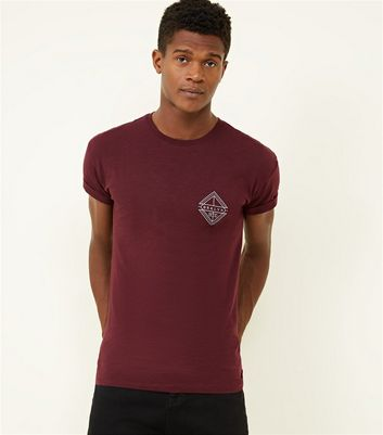Burgundy BRKLYN Graphic Turn-Up Sleeve T-Shirt