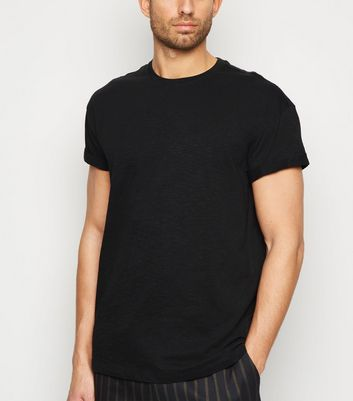 Black Slub Rolled Sleeve T-Shirt