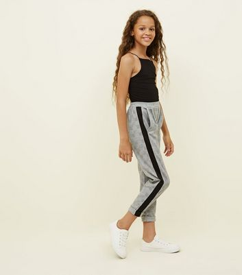 Girls Grey Side Stripe Check Pull-On Trousers