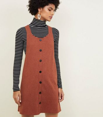 Rust Cross Hatch Button Front Pinafore Dress