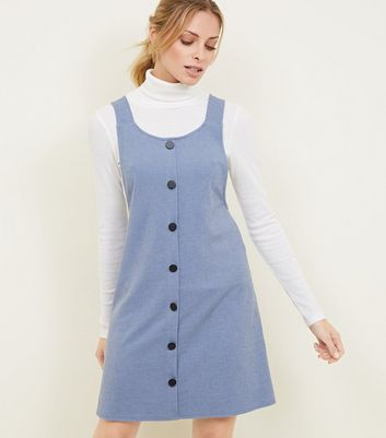 Pale Blue Cross Hatch Button Front Pinafore Dress