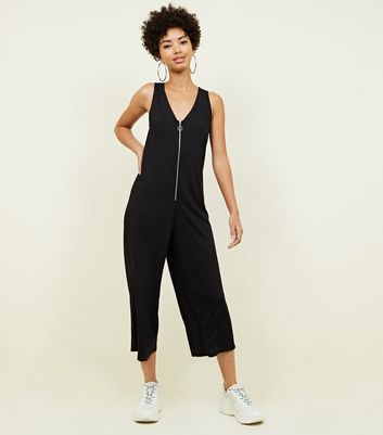 Black Ribbed Ring Pull Zip Front Jumpsuit by New Look