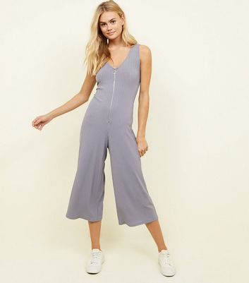 Grey Ribbed Ring Pull Zip Front Jumpsuit