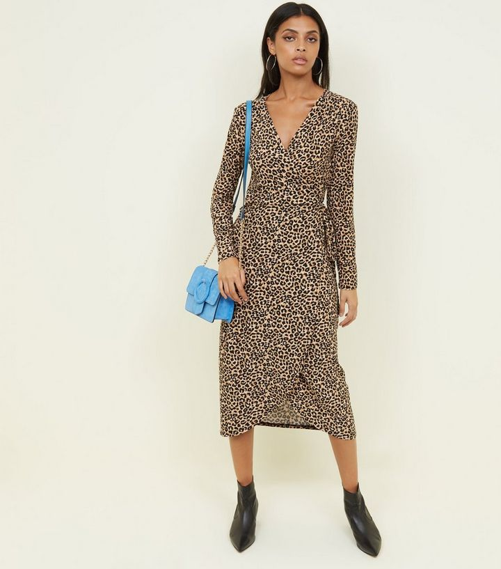 fddef3cdcc48 Brown Leopard Print Soft Touch Midi Dress | New Look