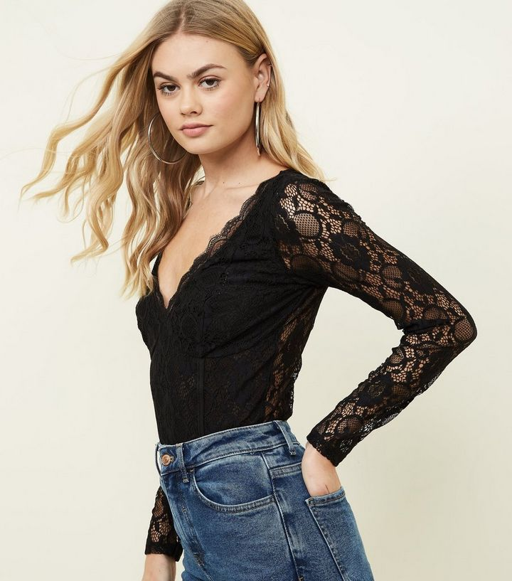 7b86b0a8b67 Black Lace Long Sleeve Bodysuit Add to Saved Items Remove from Saved Items