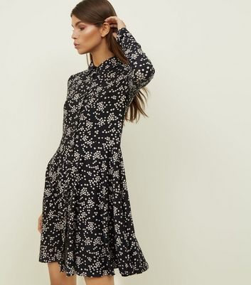 Black Ditsy Floral Soft Touch Shirt Dress