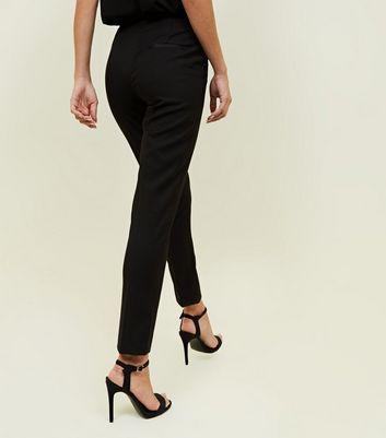 Black Satin Contrast Slim Leg Trousers New Look