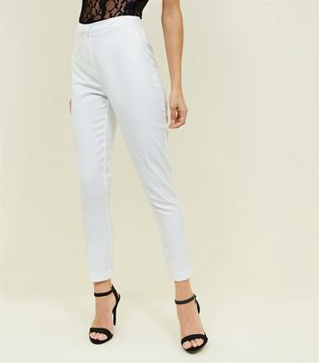 White Satin Contrast Slim Leg Trousers New Look