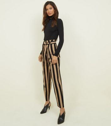 Tall Black Stripe Tie Waist Tapered Trousers