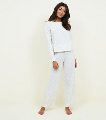Pale Grey Marl Brushed Rib Pyjama Joggers by New Look