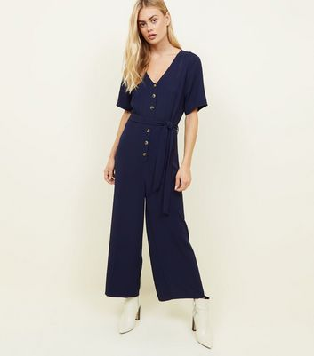 Tall Navy Button Front Belted Jumpsuit