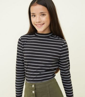 Girls Black Stripe High Neck Long Sleeve T-Shirt