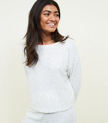 Pale Grey Marl Brushed Rib Pyjama Sweatshirt