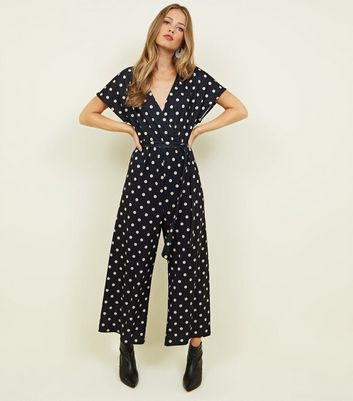 Tall Black Spot Print Belted Wrap Jumpsuit
