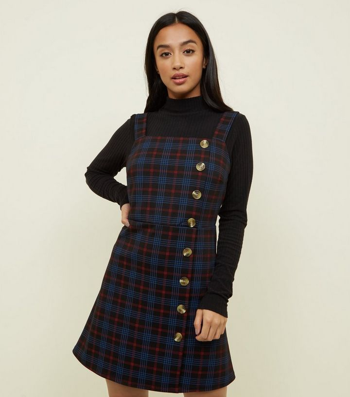 7b6765992e Petite Blue Check Button Pinafore Dress