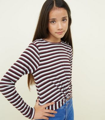 Girls Black Stripe Twist Front Long Sleeve T-Shirt
