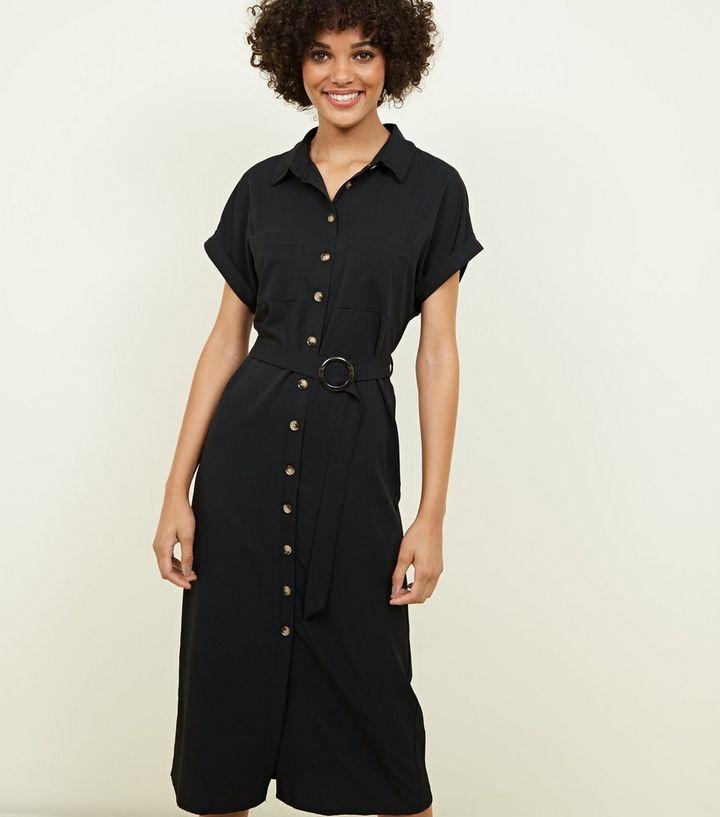 Design moderne prix incroyable gamme complète de spécifications Robe chemise mi-longue noire boutonnée Ajouter à la Wishlist Supprimer de  la Wishlist