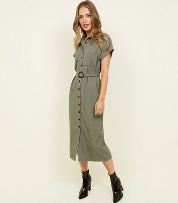 Khaki Button Through Midi Shirt Dress