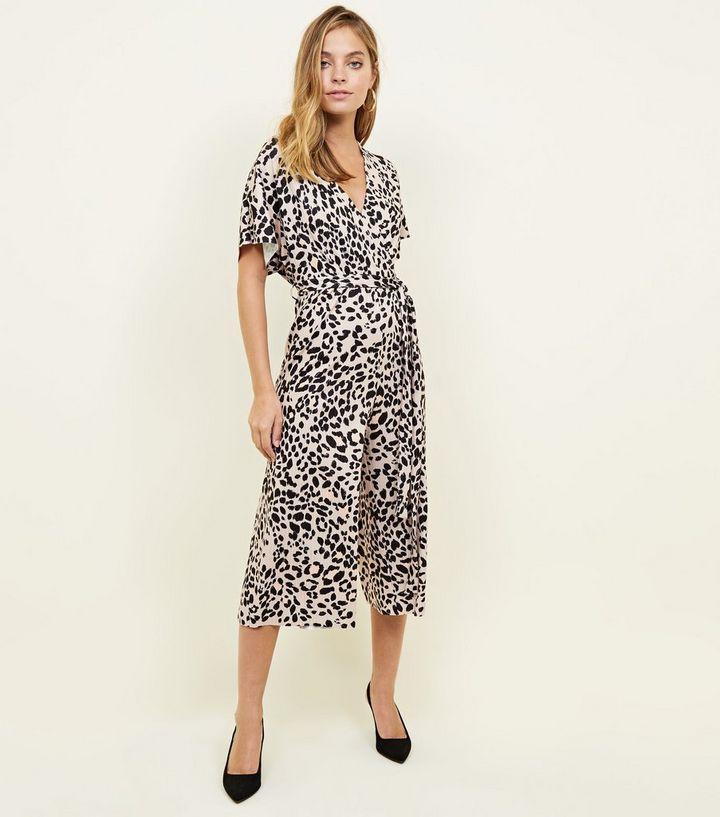 9003e6d9b5d Petite Brown Leopard Print Wrap Culotte Jumpsuit