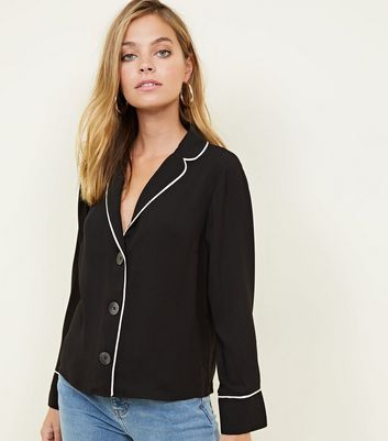 Petite Black Button Front Contrast Piped Shirt