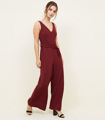 Petite Burgundy Belted Jumpsuit
