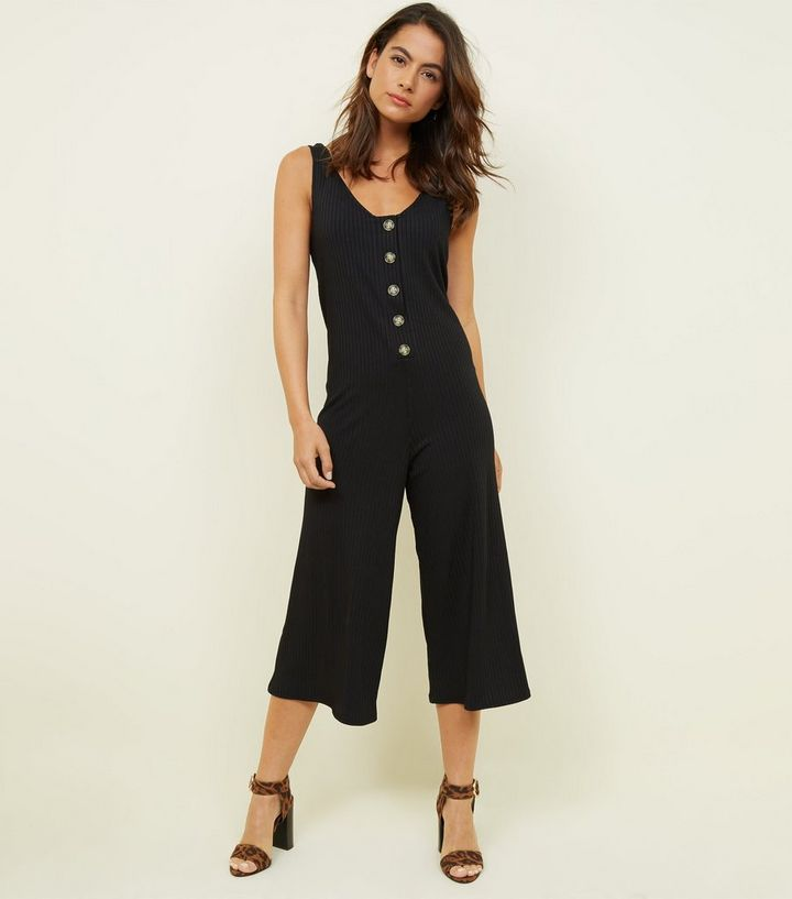 017293100ff4 Petite Black Button Front Sleeveless Culotte Jumpsuit