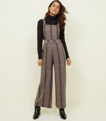 Petite Burgundy Check Wide Leg Dungarees