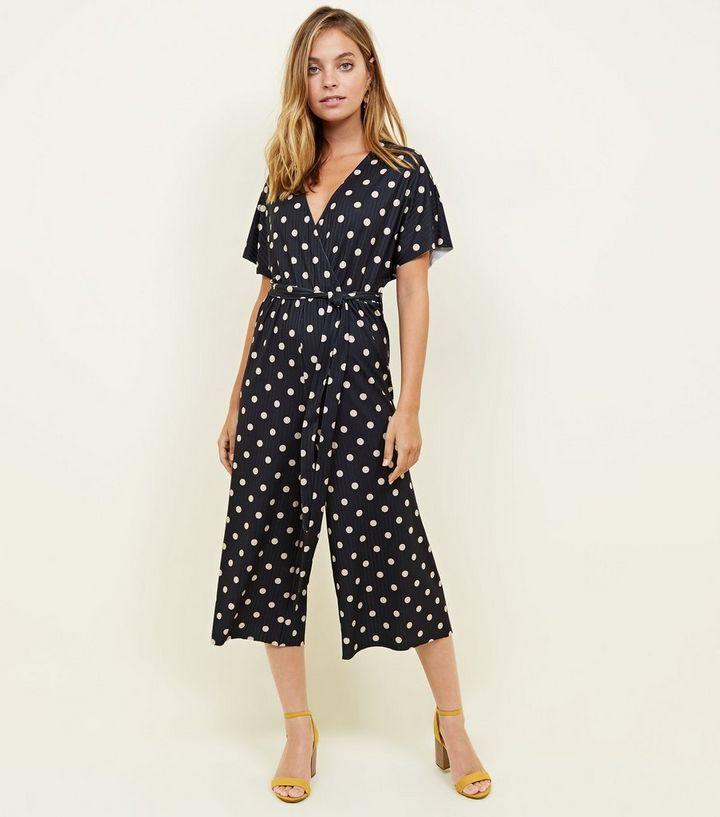 0132d680ea Petite Black Spot Print Wrap Culotte Jumpsuit