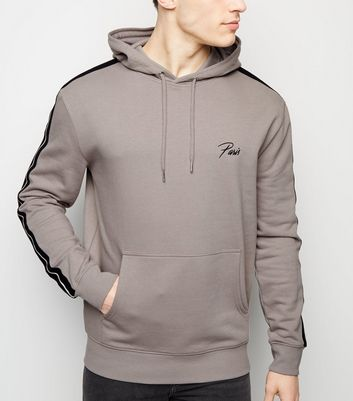 Pale Grey Paris Embroidered Slogan Hoodie