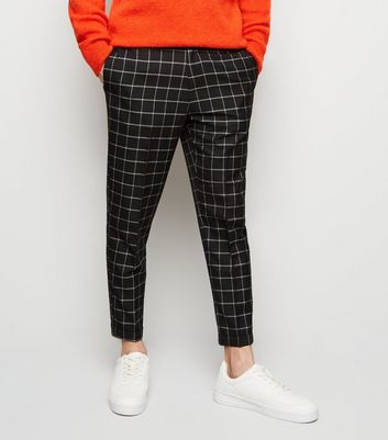 Black Grid Check Slim Leg Cropped Trousers