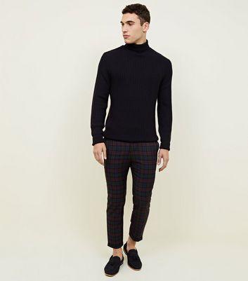 Burgundy Tonal Tartan Check Cropped Trousers New Look