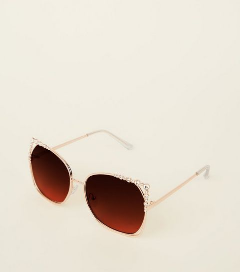 22fa36d9d5 ... Gold Cut-Out Diamanté Rectangle Sunglasses ...