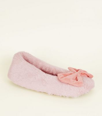 Pink Fluffy Velvet Bow Slippers
