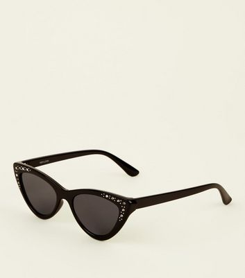 Black Diamanté Embellished Cat Eye Sunglasses