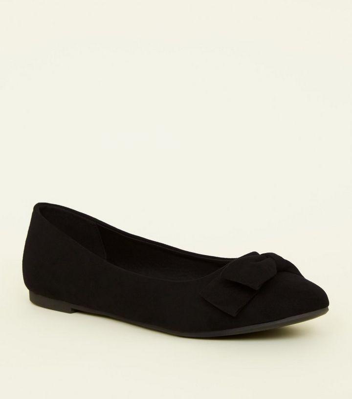 8a5608aefde Girls Black Suedette Bow Ballet Pumps