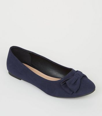 Girls Navy Suedette Bow Ballet Pumps