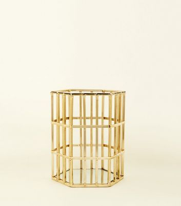 Gold Hexagon Shaped Wire Lantern by New Look