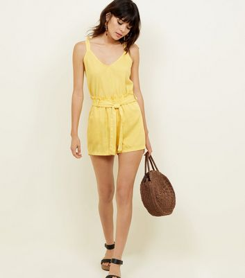 Cameo Rose Mustard Belted Paperbag Shorts