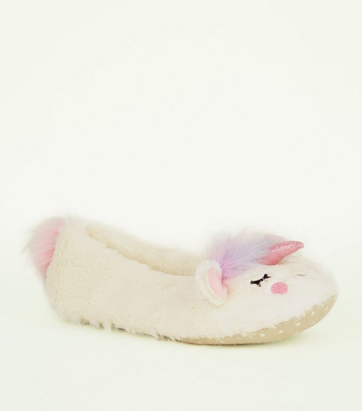 abb993b250c3 White Fluffy Unicorn Slippers