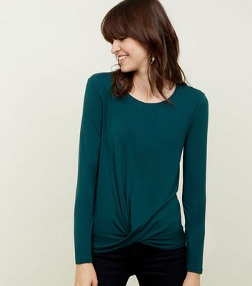 Tall Dark Green Twist Front Lonng Sleeve T-Shirt