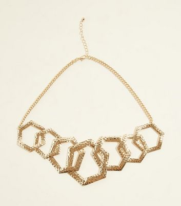 Gold Linked Hexagon Chunky Chain Necklace