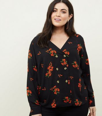Curves Black Floral Double Breasted Blouse