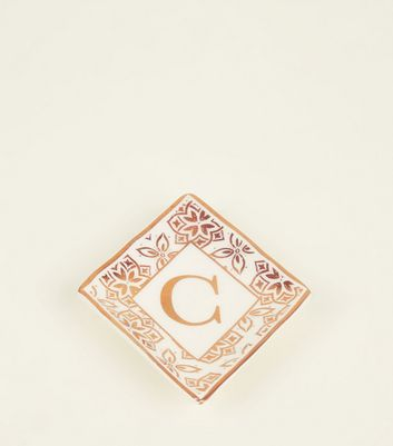 White C Initial Floral Border Trinket Tray