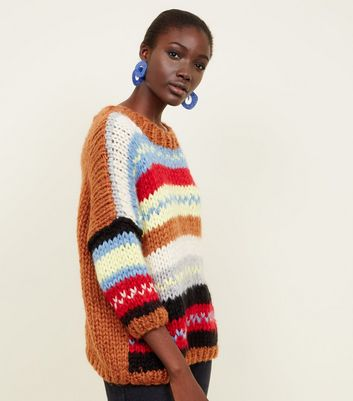 Multicoloured Fairisle Stripe Oversized Hand Knit Jumper