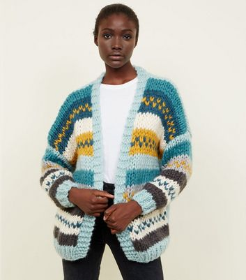 Blue Fairisle Stripe Chunky Hand Knit Cardigan