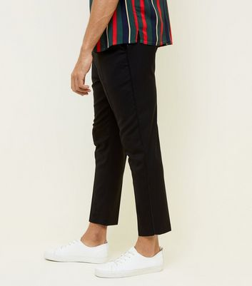 Black Side Piped Pull-On Trousers
