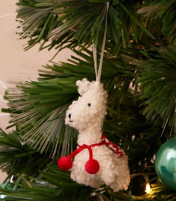 White Knitted Llama Seasonal Decoration