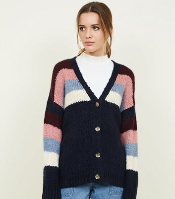 Navy Stripe Yoke Chunky Knit Cardigan