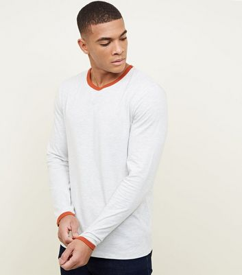 White Long Sleeve Contrast Trim T-Shirt